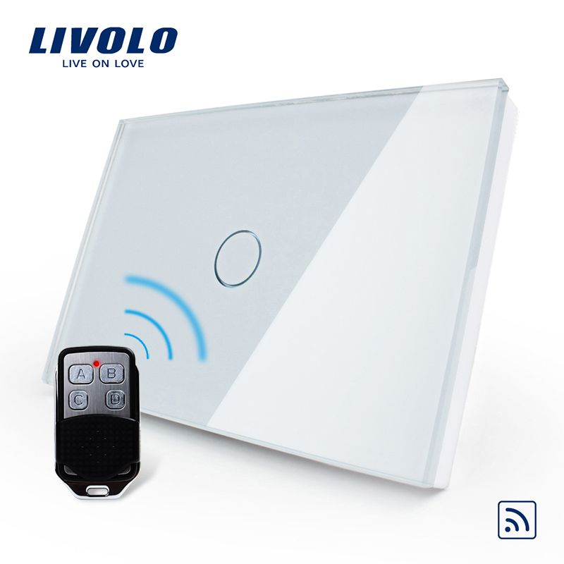 Livolo US/AU Standard 1gang Remote Switch,AC 110~250V,White Glass Panel ,switch with mini remote controller, C301R-81VL-RMT-02