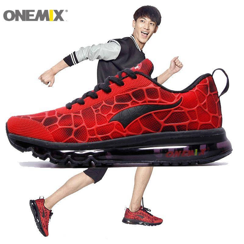 ONEMIX Homme Chaussures de Course Pour Hommes Max Coussin Belle Course Athletic Trainers Rouge Noir Zapatillas Sport Chaussures de Marche En Plein Air Sneakers