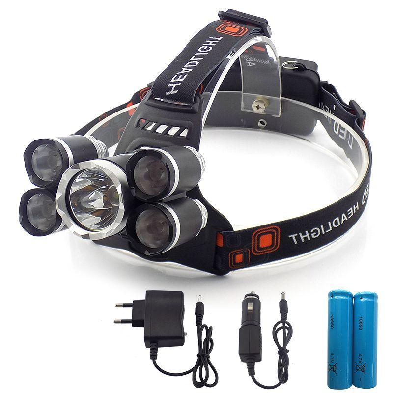 Headlight 35000 Lumen headlamp 5 Chip XM-L T6 /Q5 LED Head Lamp Flashlight Torch Lanterna Headlamp with batteries AC charger