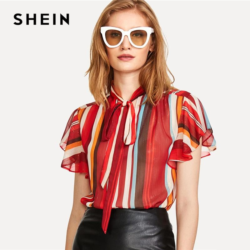 SHEIN Flutter Sleeve Tied Neck Striped Blouse 2018 Summer <font><b>Stand</b></font> Collar Short Sleeve Casual Top Women Multicolor Workwear Blouse