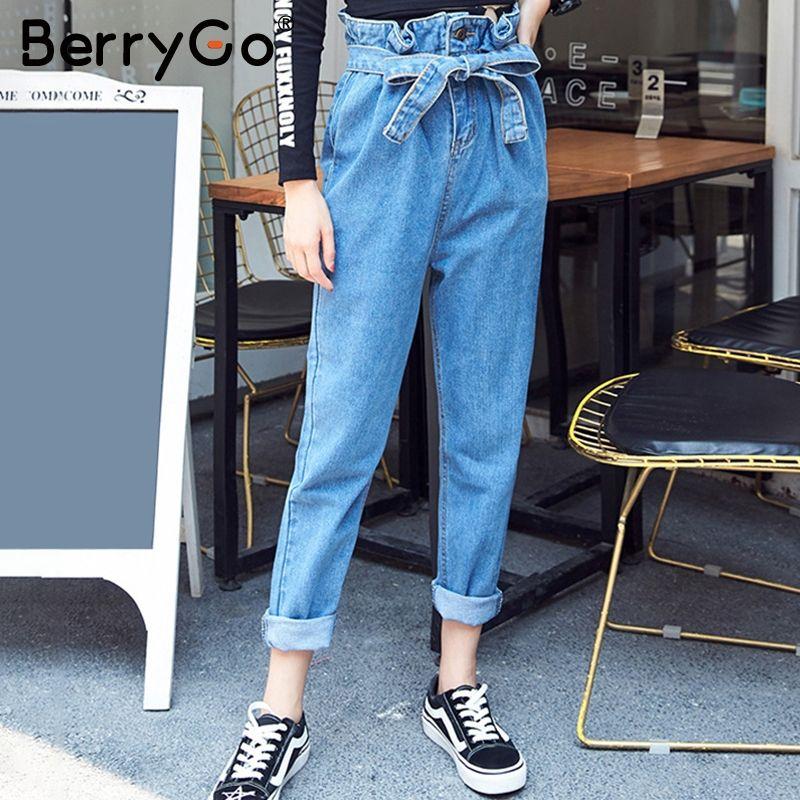 BerryGo High waist sash harem pants women trousers Streetwear 2018 spring casual pants female Zipper button pants capris bottom