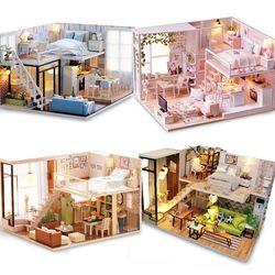 DIY Model Rumah Boneka Miniatur Furnitur Rumah Boneka Lampu LED 3D Kayu Mini Rumah Boneka Hadiah Buatan Tangan Mainan untuk Anak L023 # E