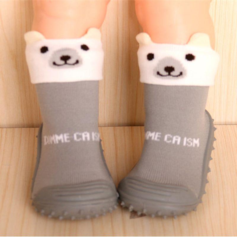 Calcetines de bebé Antideslizante Calcetín de Algodón Recién Nacido Zapatos Animal de la Historieta Zapatillas Botas Unisex Niño Niña Calcetines Suela De Goma DS19