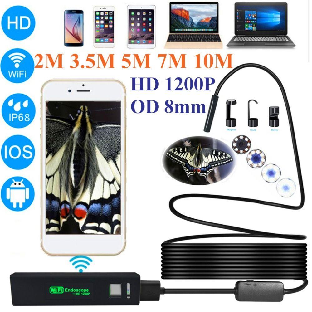 LESHP 1200 p HD Wireless USB Endoskop Mini Kamera Wasserdichte Tragbare 8mm Objektiv Telefon Endoskop Für IOS Android PC 2/3. 5/5/7/10 mt