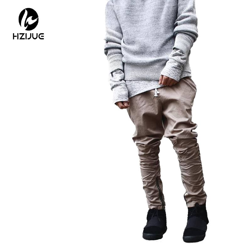 HZIJUE khaki/Black/Green korean hip hop fashion pants with zippers factory connection mens urban clothing joggers men