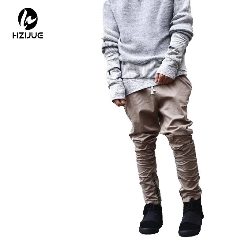 Hzijue хаки/черный/зеленый корейский в стиле хип-хоп модные штаны с молниями завод подключение Мужская городская одежда Джоггеры мужские