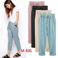 Aikeec Pants Plus Size M - 4XL 5XL 6XL Pants Women Elastic High Waist Solid Casual Cotton Linen Ankle Length Thin Women Fashion