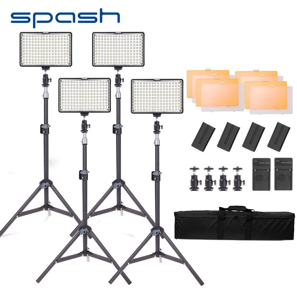 spash TL-160S LED Video Light Kit 4pcs Photo Studio Lamp Photographic Lighting with Tripod Dimmable 3200K-5600K NP-F550 Battery