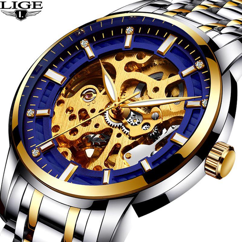 LIGE neue Automatische Skeleton Herrenuhren Top-marke Luxus Fashion gold Uhren Hombre Uhr Mechanische Uhren herren uhr