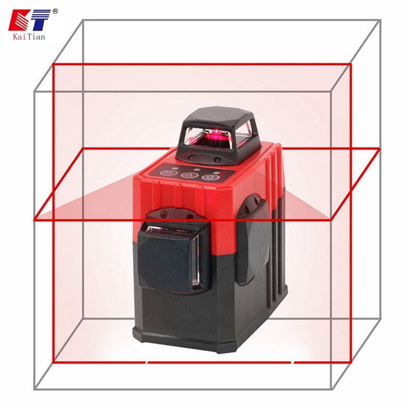 KaiTian 8Lines 2D Laser Level Bracket Self-Leveling 360 Vertical 650nm Horizontal Cross Red Livello Laser x Beam Line Level Tool