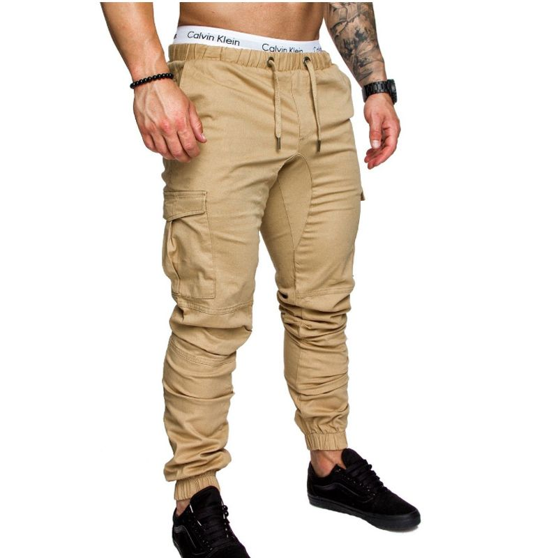 Brand Men Pants Hip Hop Harem Joggers Pants <font><b>2018</b></font> Male Trousers Mens Joggers Solid Multi-pocket Pants Sweatpants M-4XL