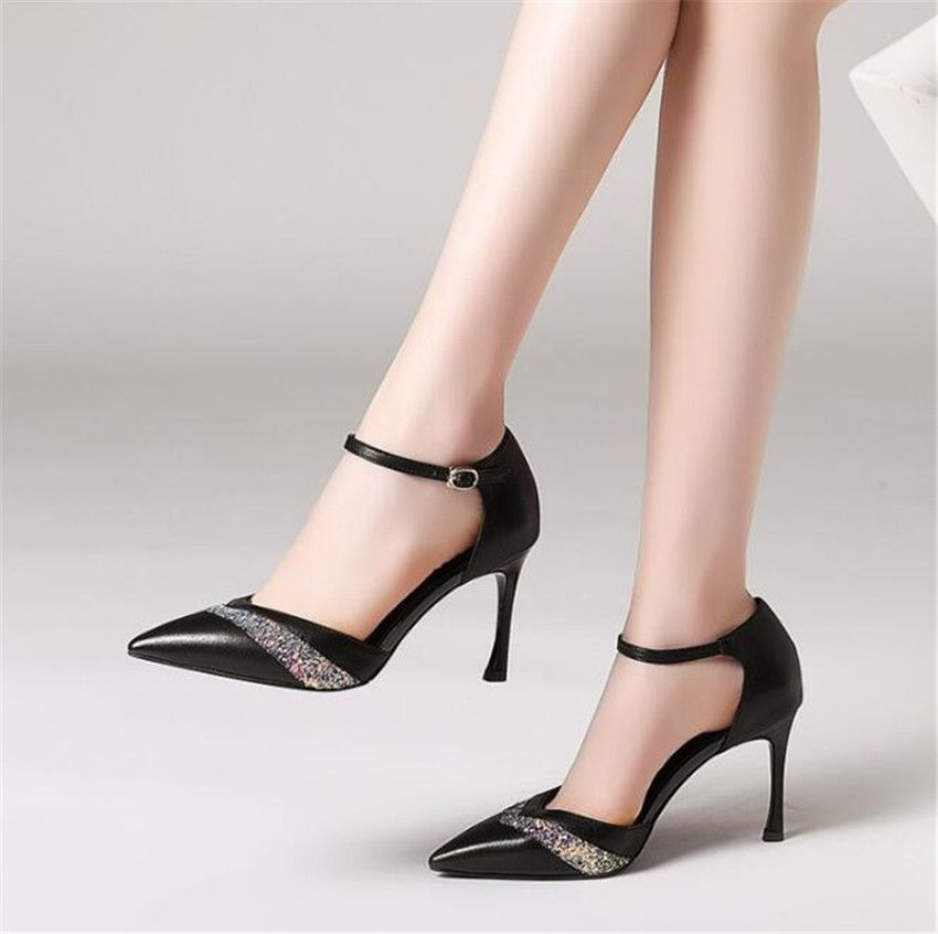 MLCRIYG New sharp pointed and high heeled sandals with buckled cowhide Coloured women's shoes