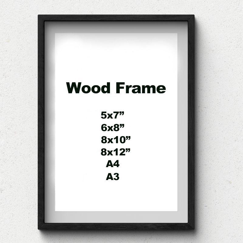 Nature solide cadre en bois Simple A4 A3 noir blanc bois couleur cadre Photo avec tapis pour matériel de montage mural inclus