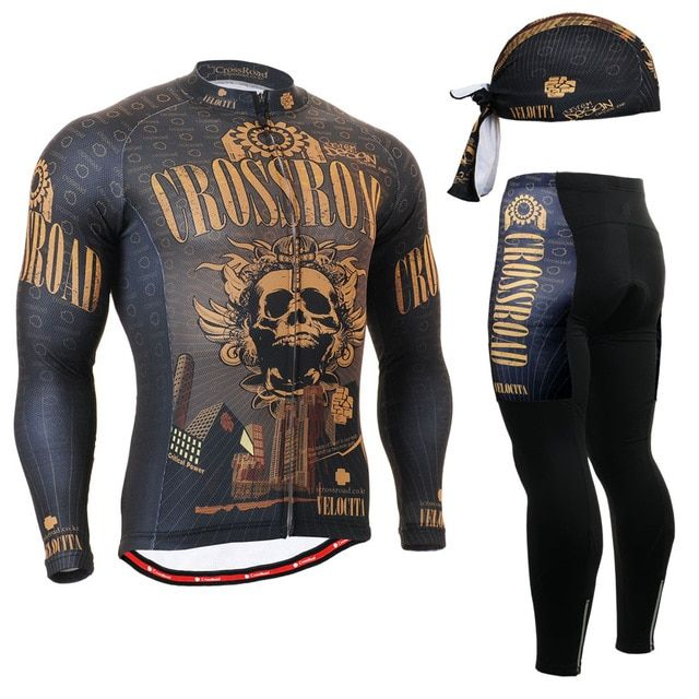 2017 the latest clothes cycling spring riding clothes wear apparel sets Brown Skull Pattern mountain bicycle clothing sets suits