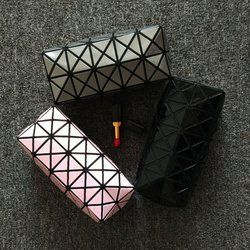 new fashion women Cosmetic bag cases Geometric folding make up bag quality PVC organizer makeup case beauty bags