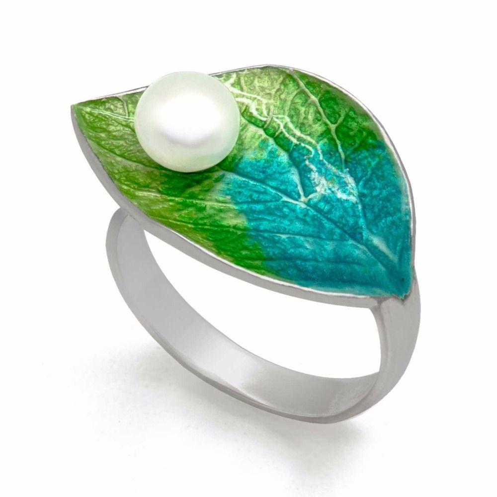Caliente waterdrop en hoja verde hecho a mano cloisonne natural cultivada de agua dulce perla plata 925 regalo anillo ajustable