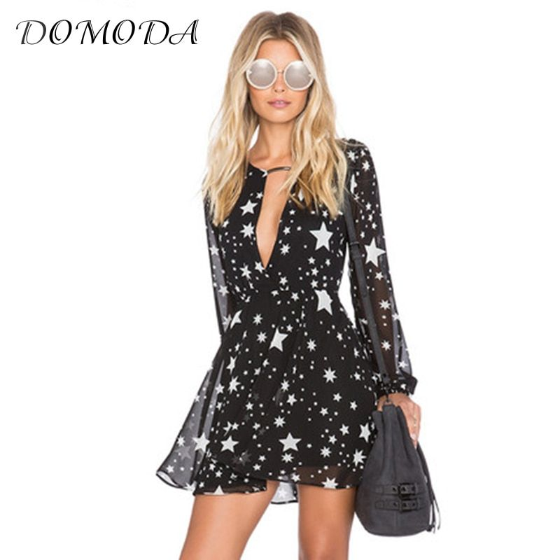 DOMODA Solid Black Stars Printed Summer Dresses Women V-Neck Sheer Mini Dress Fashion Sexy Party&Club Casual Vestido Female