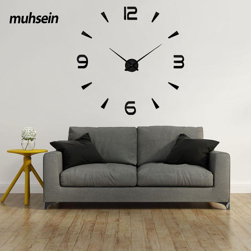 2017 Nouveau 3D Horloge Murale mur numérique Mode d'horloge Salon Horloges Grand Mur Horloge DIY Décoration saat Acrylique