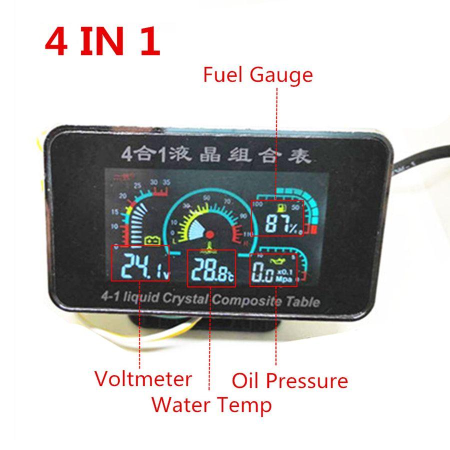 4 In 1 LCD 12v/24v Excavator Truck Car Oil Pressure Voltmeter Volt Water Temperature Oil Fuel Gauge With 10mm temperature sensor