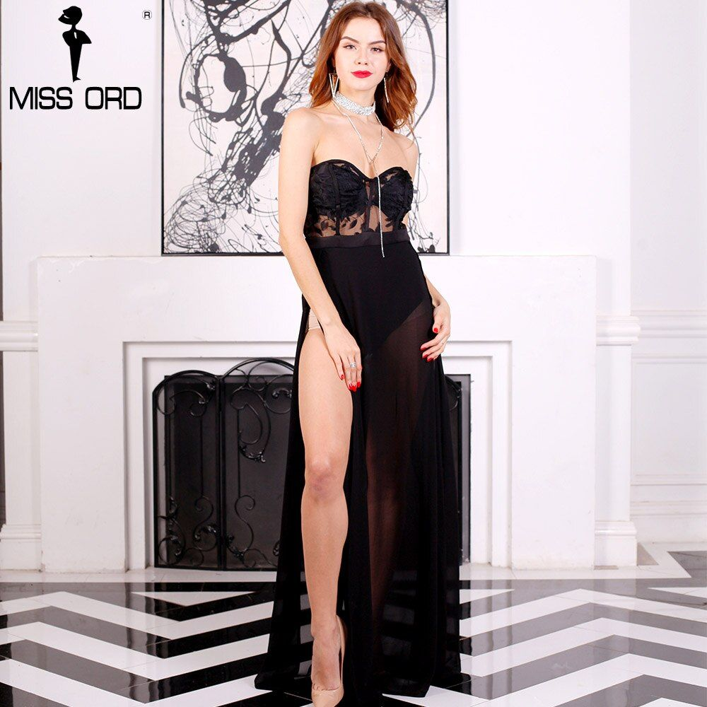 Free Shipping  Missord 2018 Sexy Bra sexy sleeveless lace stitching split playsuit  FT5172