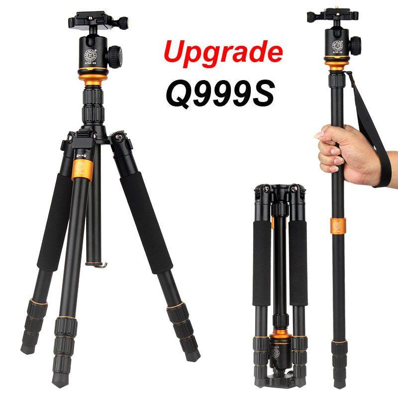 QZSD Q999S Ultra Compact and Lightweight Portable Aluminum Camera Tripod with Ball Head Monopod For Canon Nikon Sony DSLR Camera