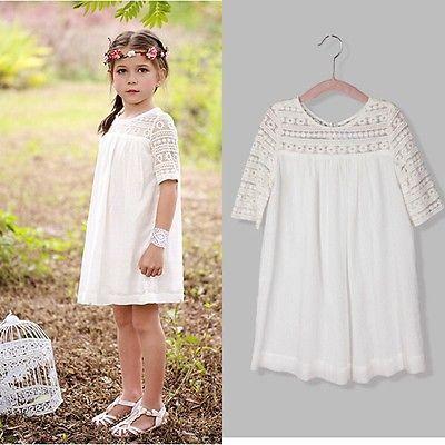 Chic blanc princesse bébé fille robes d'été dentelle Floral brève formelle robe de soirée robes vêtements décontractés 2 3 4 5 6 7 8 9 ans
