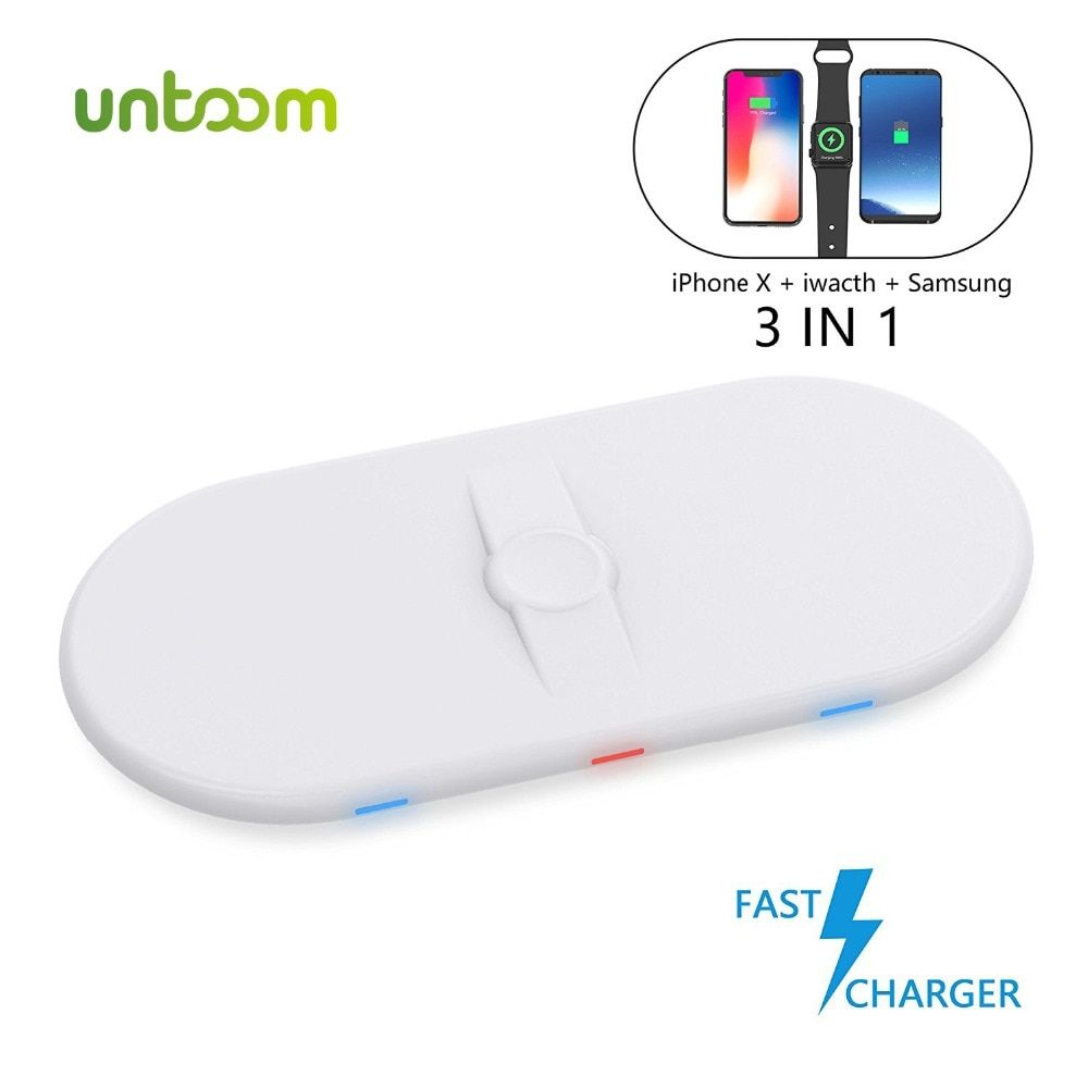 3 in 1 Qi Wireless Fast Charger for Apple Watch 2 3 iWatch iPhone X 8 8 Plus Samsung Galaxy Note 8/S8 Fast Wireless Charging Pad