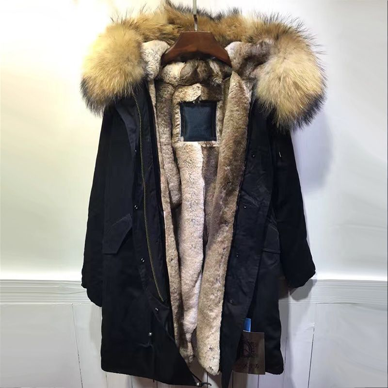 Black long fur parka, natural raccoon fur hoodies casual faux rabbit fur lined mr and mrs winter wear
