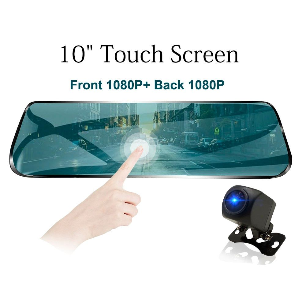 TAVIN 10 inch Touch Screen Auto DVR Rückspiegel Dash cam Full HD Front Auto Kamera + 1080 P zurück Cam Dual Objektiv Video Recorder