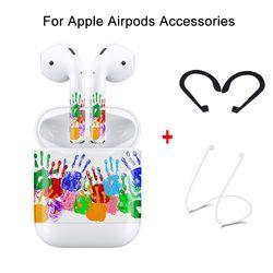 Aksesoris Set untuk Apple AirPods Pelindung Kulit Sticker & Anti Hilang Tali & Penutup Telinga Hook untuk AirPods Nirkabel Bluetooth earphon