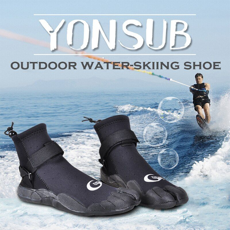 3MM Man&Woman Rubber Diving Boots Anti-slip Quick-drying Surf Shoes Snorkeling Wading Underwater Hunting Shoes Black YZ005
