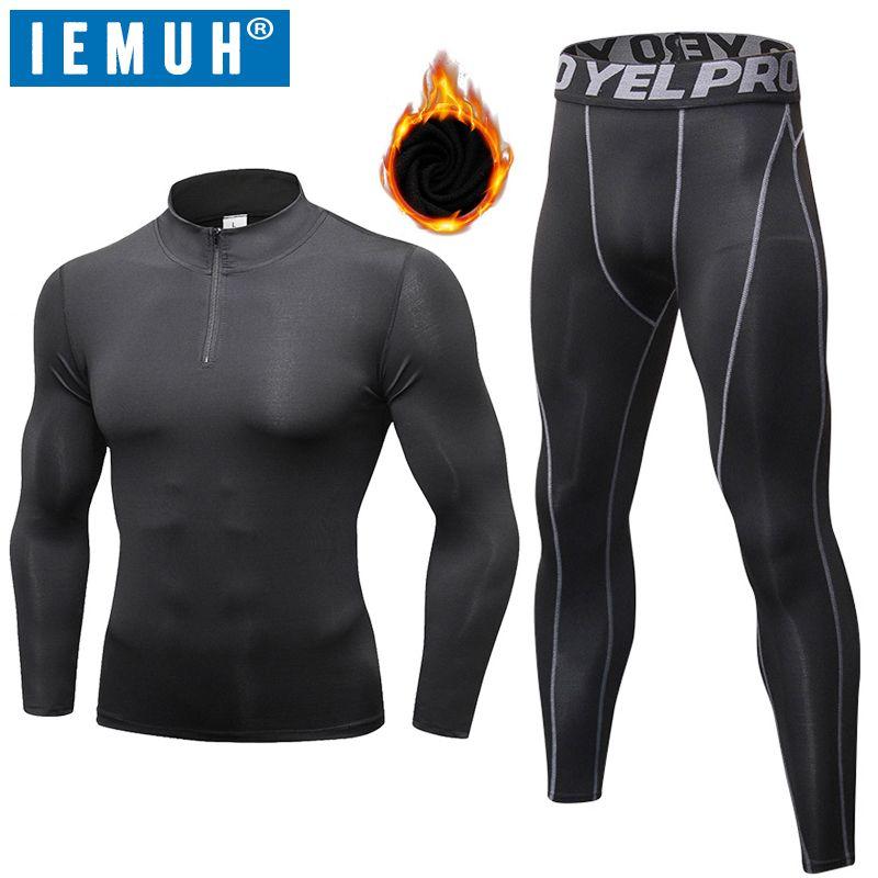 Lange Unterhosen Thermische Unterwäsche Sets IEMUH Winter Männer Quick Dry Anti-mikrobielle Stretch männer Thermo Unterwäsche Männlichen Warme fitness