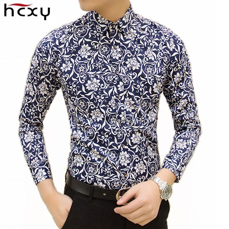HCXY livraison gratuite colorée printemps et été marque de mode hommes vêtements imprimé chemise grande taille Slim floral chemise hommes