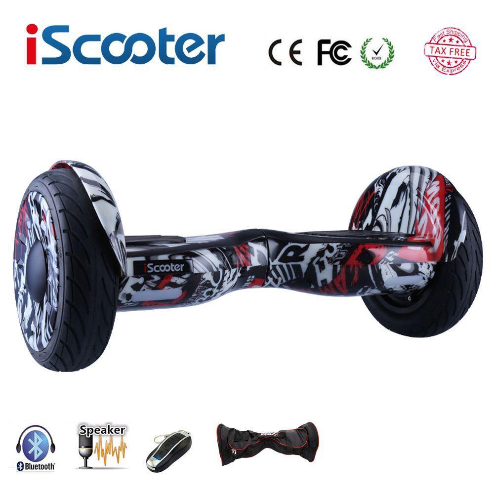 Neue iScooter hoverboard 10 zoll zwei rädern intelligente selbstausgleich elektroroller elektrisches skateboard mit Bluetooth lautsprecher giroskuter