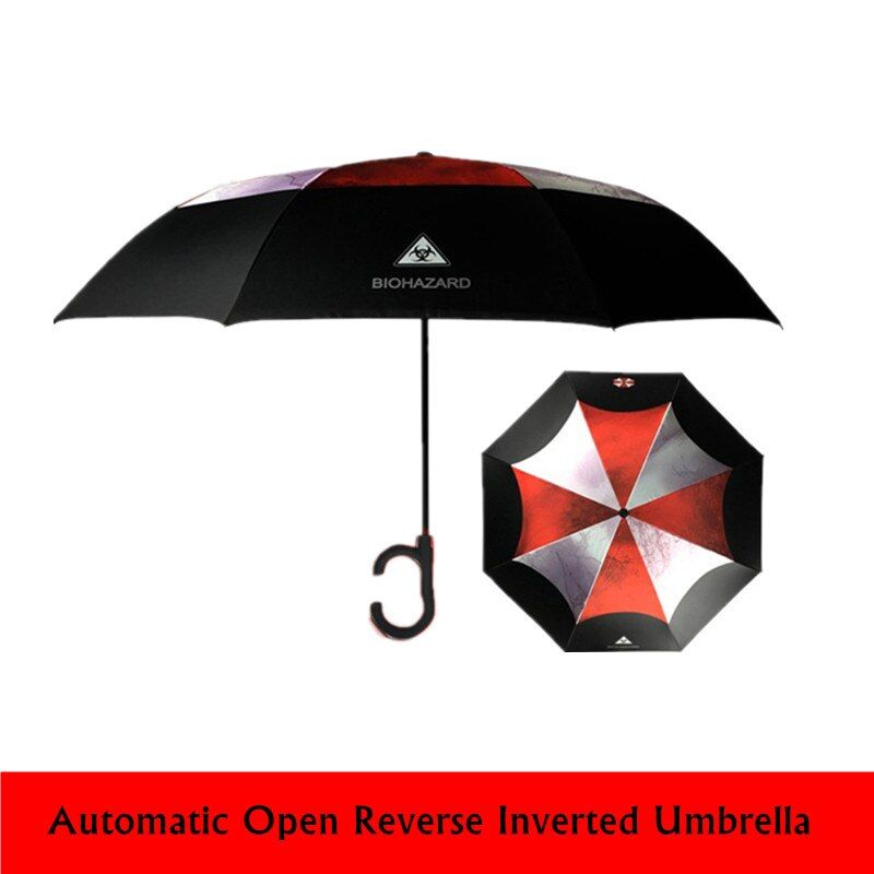 High Quality Resident Evil Umbrella Corporation For Men Automatic Reverse Inverted Umbrella For Car Paraguas Inverso <font><b>Hombre</b></font>