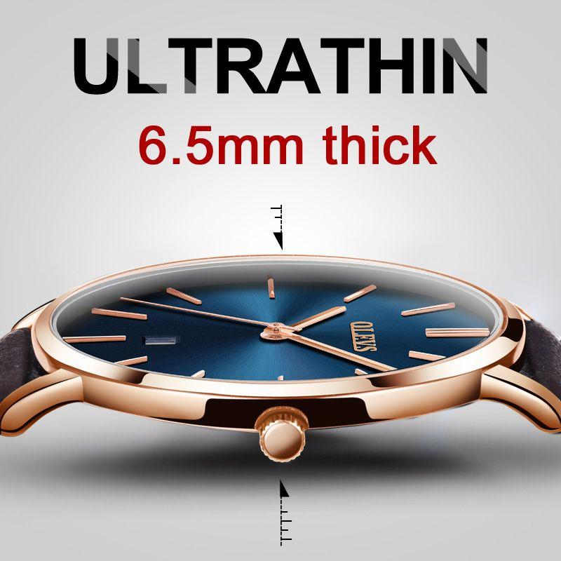 Top marca de lujo reloj hombres de cuarzo reloj de oro rosa ultra fino resistente al agua relojes Cuero auténtico reloj masculino Erkek SAAT