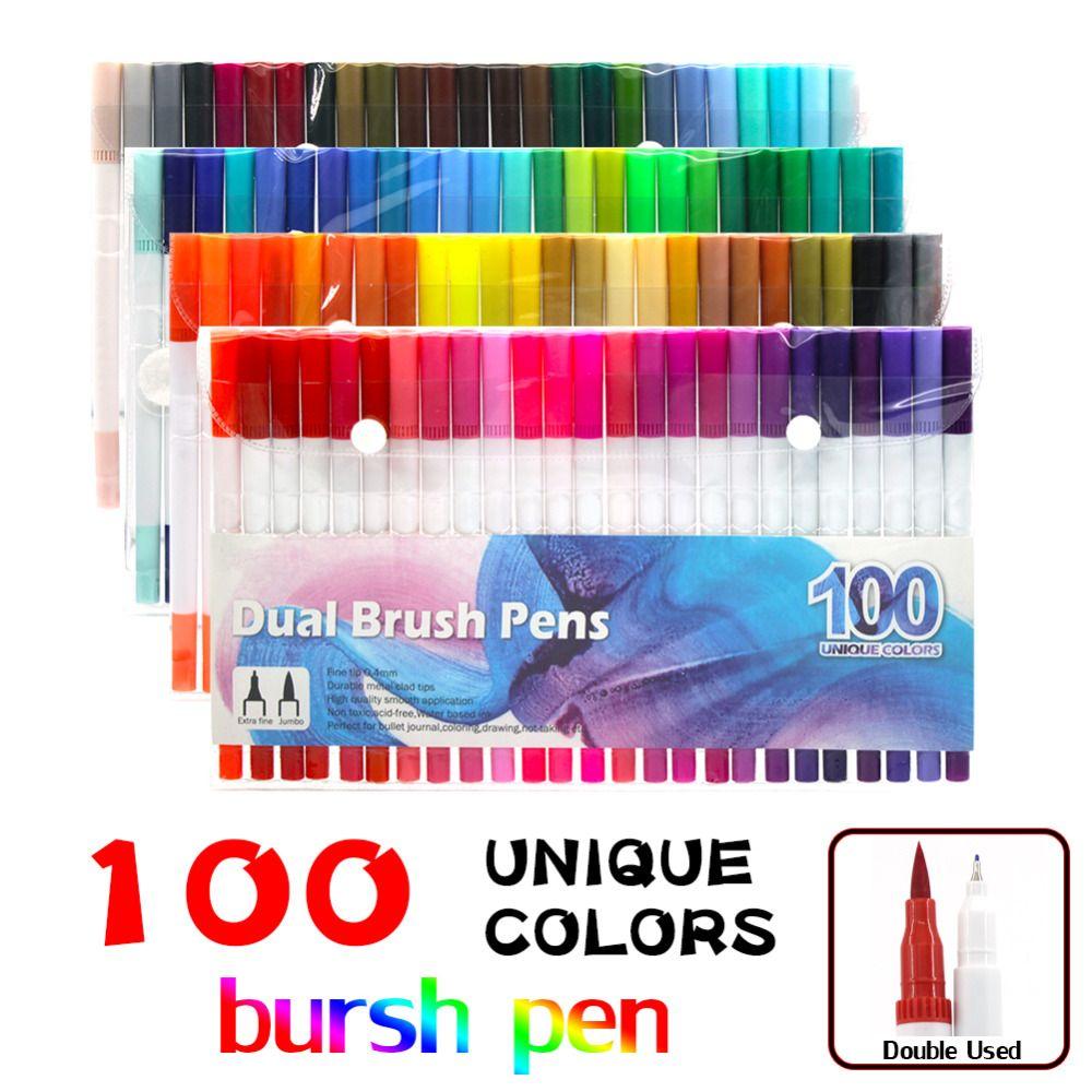 Dual Tip Marker Pens 100 Colores, Acuarela Pincel Doble con Punta 0.4 y Marcadores de Punta de Pincel Fineliner (1mm-2mm)