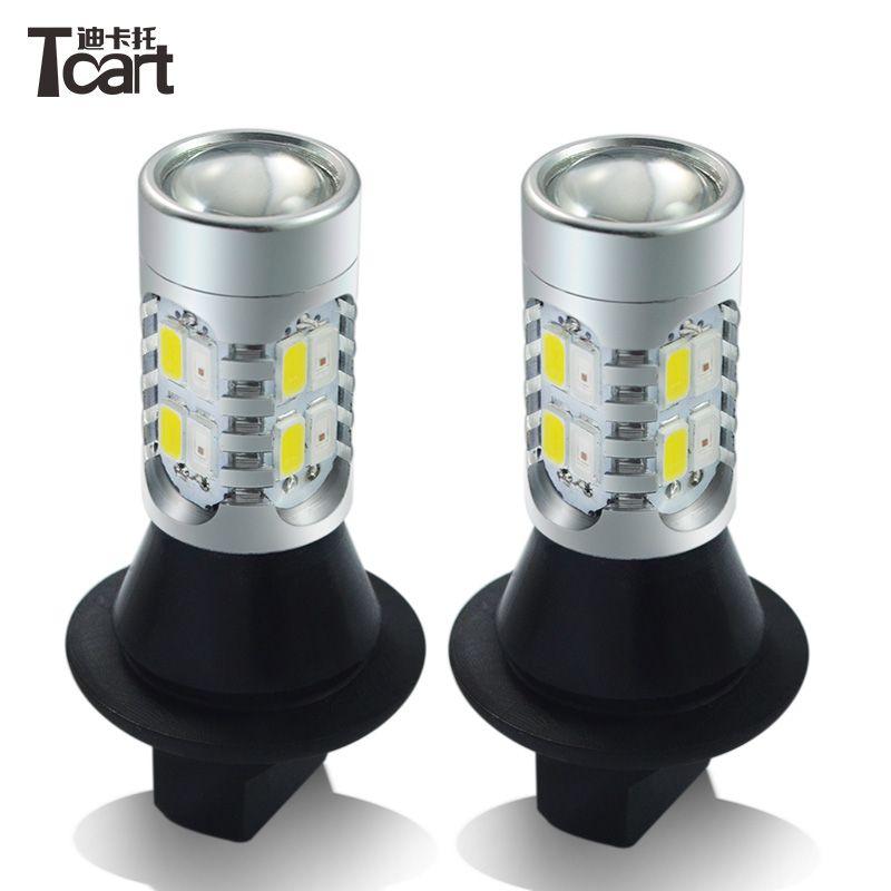 Tcart 2x feux de jour Auto ampoule LED clignotants pour Toyota Prius Highlander pour Prado Camry Corolla T20 WY21W 7440