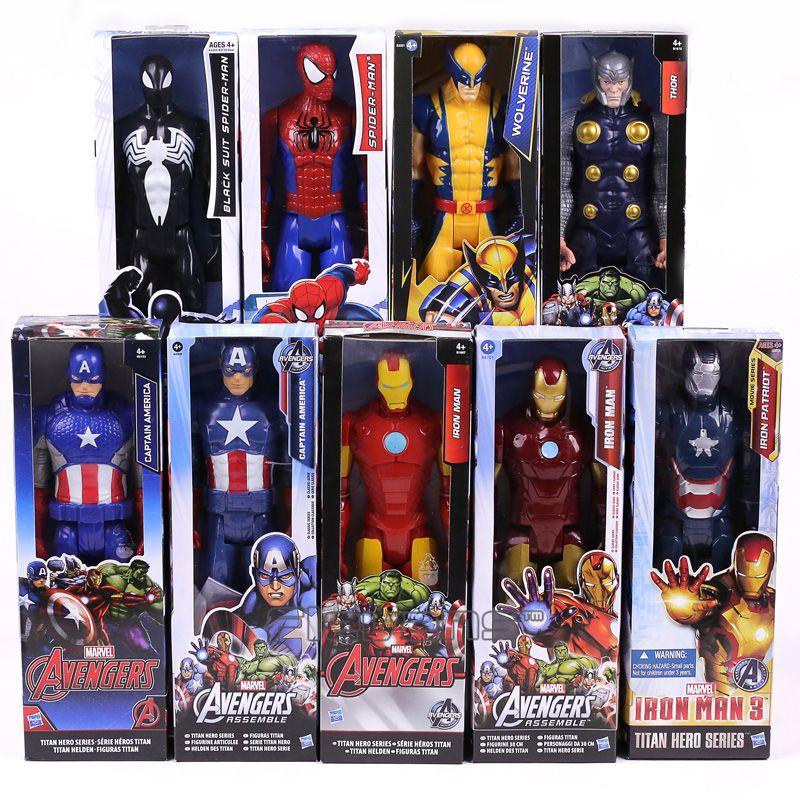 Marvel Titan Hero Series Captain America Thor Iron Man Spiderman Logan Iron Patriot PVC Action Figure Kids Toy Gift 12inch 30cm