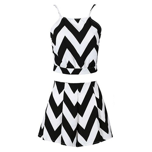Women Fashion Summer Suit Halter Top Sexy Bare Midriff Short Pants Mini Dress