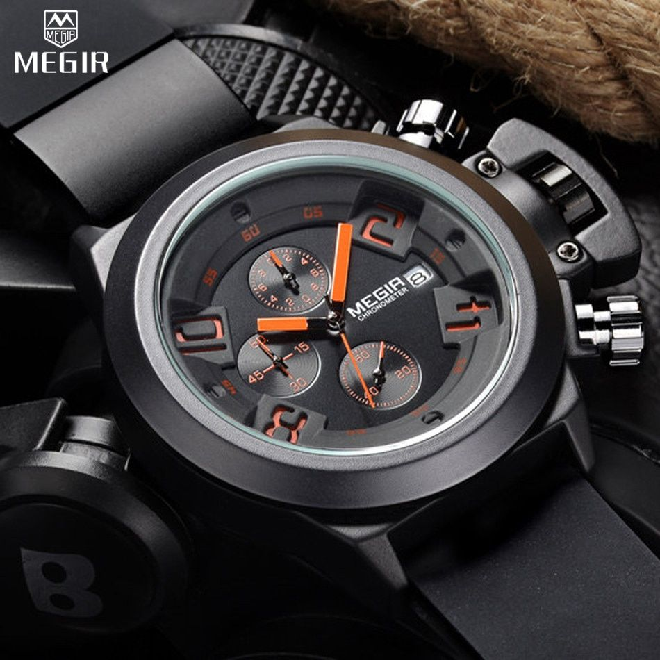 MEGIR Men's Casual Quartz Watch 3D Engraved Dial Black Silicone watches men Waterproof Military Sport Watch for Man MG2002