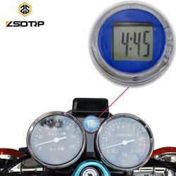 ZSDTRP Motorcycle Clock Watch Waterproof Stick-On Car Motorbike Digital Luminous Clock Time Temperature Display