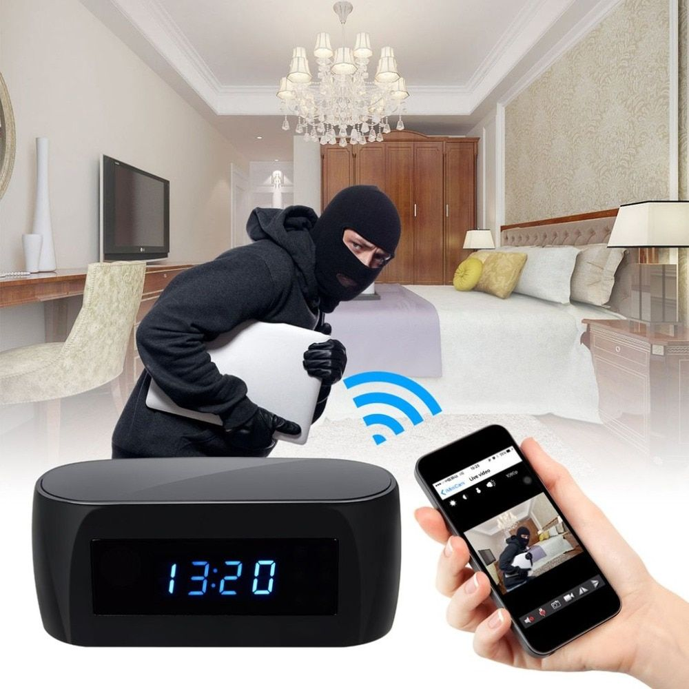 1080P Wireless Wifi Cam Camcorder With Clock Alarm 140 Degree Wide Angle Camera Night Vision Motion Dection Remote Control