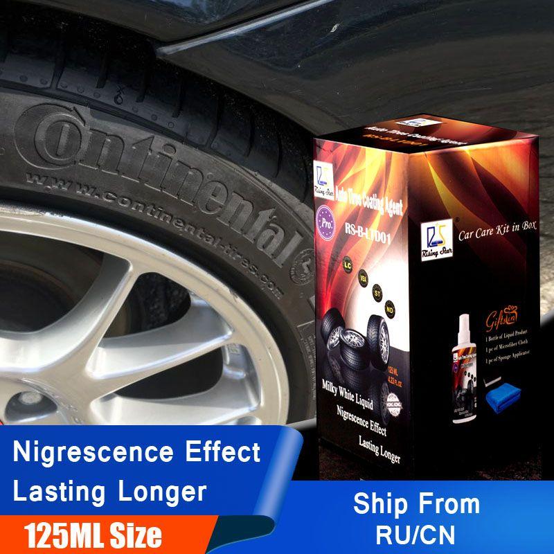Étoile montante RS-B-LTD01 pneu brillant pulvérisation pneu vitrage garder les pneus en caoutchouc noir protecteur Auto pneus Agent de revêtement 125 ml Kit