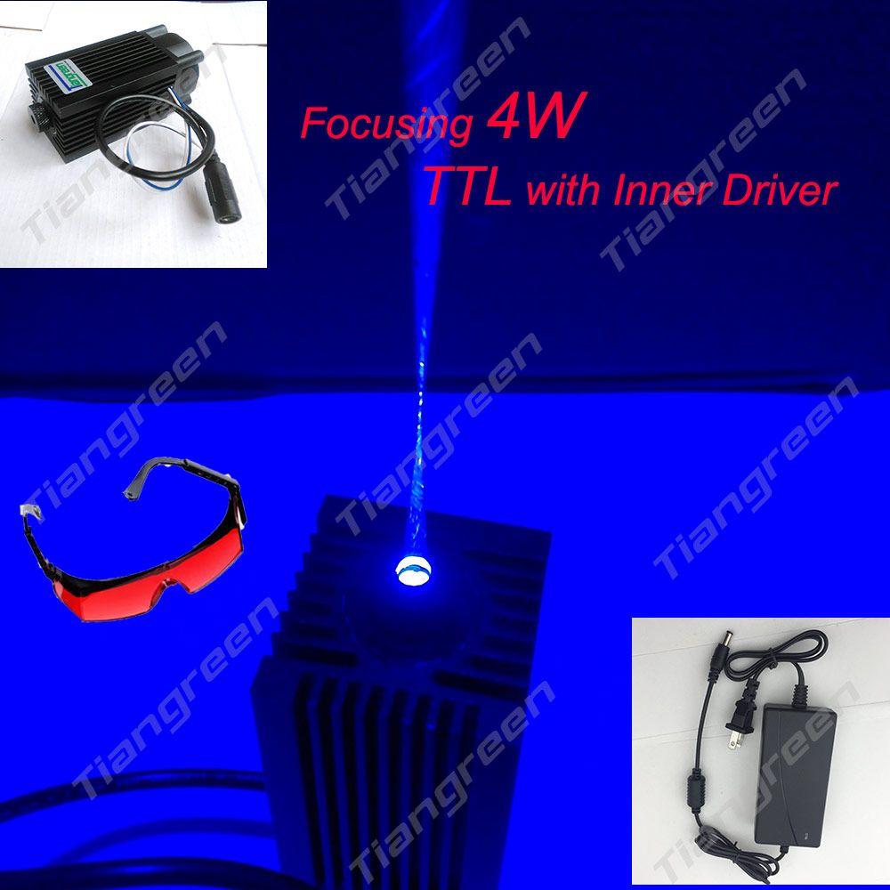 445nm 4W Blue Laser Module 4000mw 450nm Laser Head with TTL Cutter Machine + EU/US Adapter + Free Glasses as gift