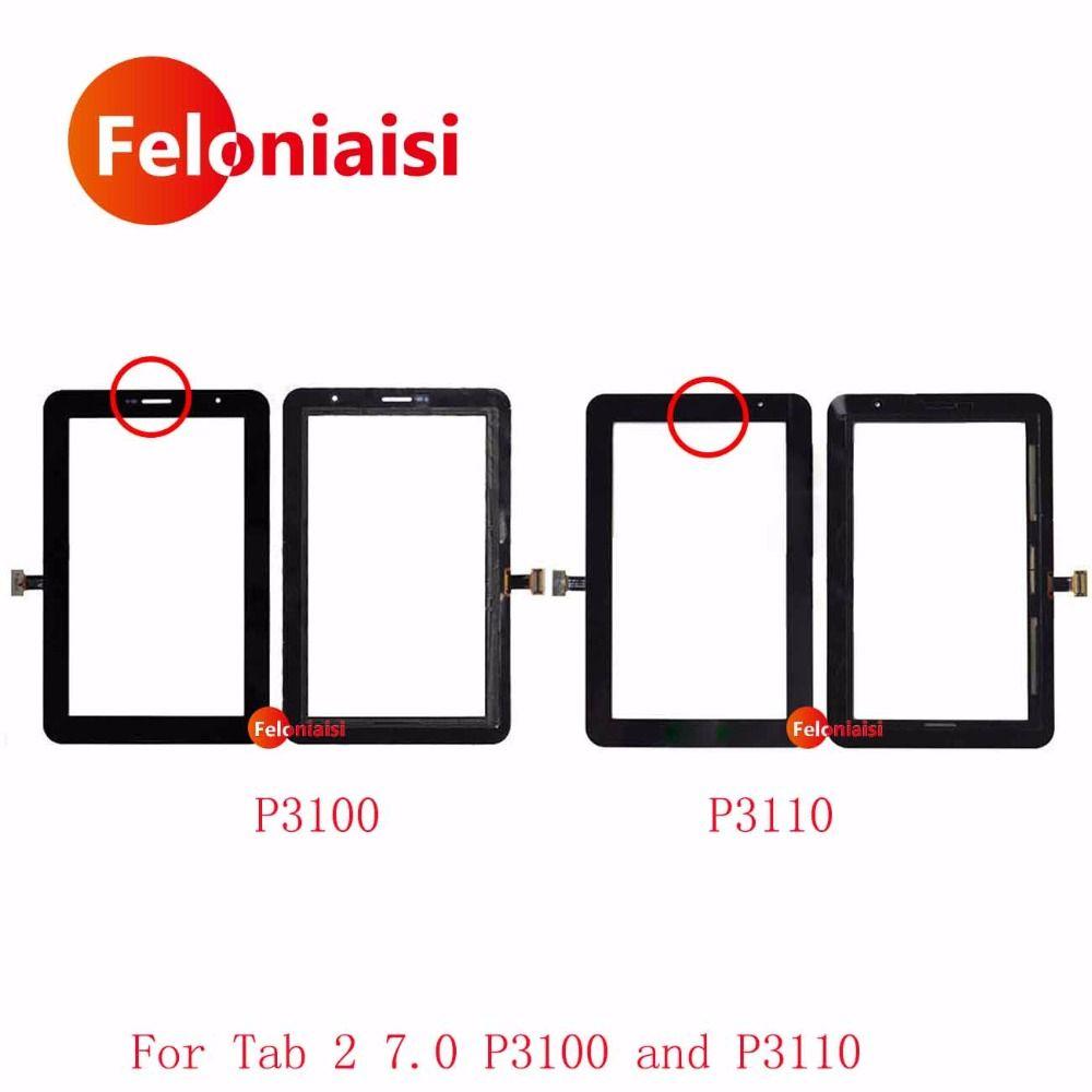 Haute Qualité 7.0 pour Samsung Galaxy Tab 2 7.0 P3100 P3110 Écran Tactile Digitizer Capteur Avant Outer Lentille En Verre Panneau + de Suivi