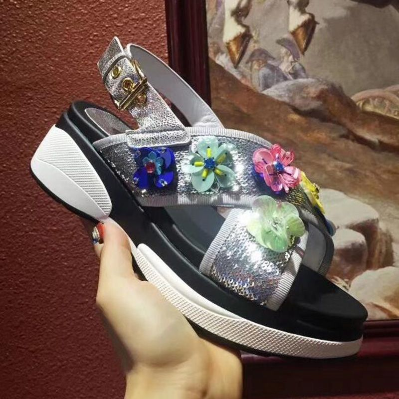 Newest handwork design Rhinestone Wedge Women Sandals Summer Vintage Beach flats slippers 6 cm creepers platform shoes women