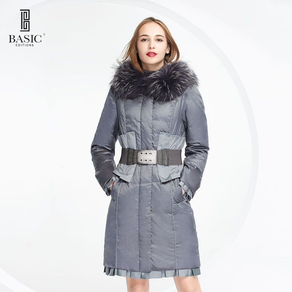 BASIC EDITIONS Down Jacket Winter Duck Down Jackets Women Waist Belt Warm Fur Collar Down Coat Long Padded Jacket - 12W-13