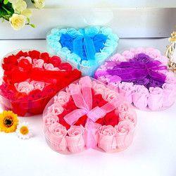 24 Pcs Coeur Parfumée Corps Bain De Pétale Rose Fleur Savon De Mariage Décoration Cadeau Saveur Savon #1227