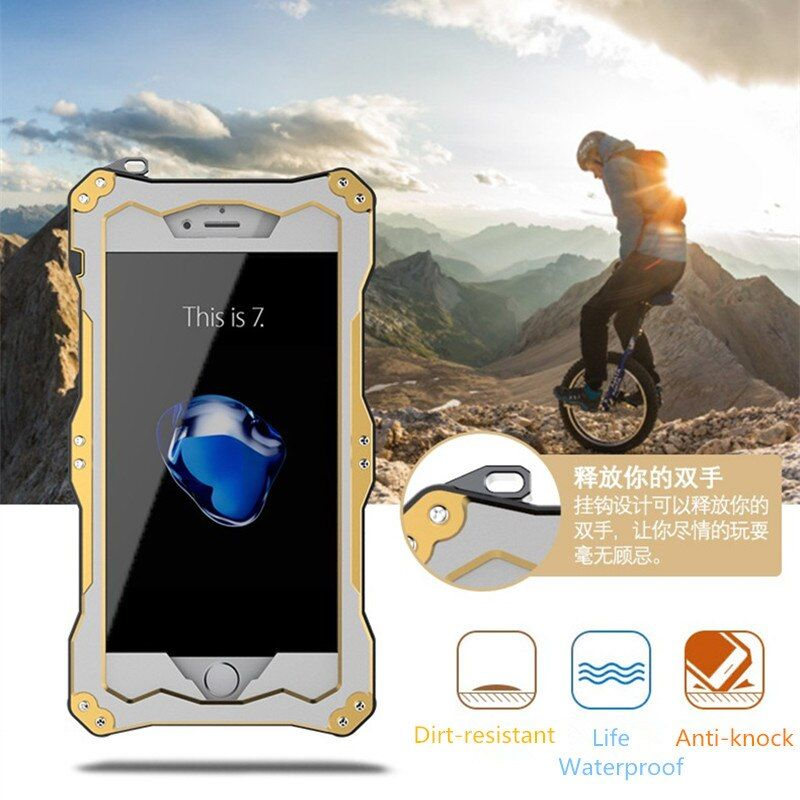 Luxury 5 5s SE R-JUST Life Waterproof Shockproof Metal Aluminum Armor Hard Case For iPhone 5s SE+Tempered Glass